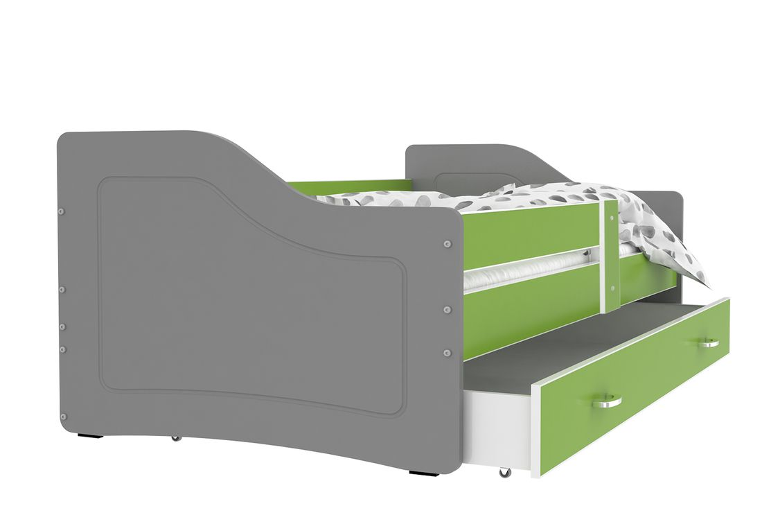 Dětská postel SWAN + matrace + rošt ZDARMA, 140x80, zelená/šedá