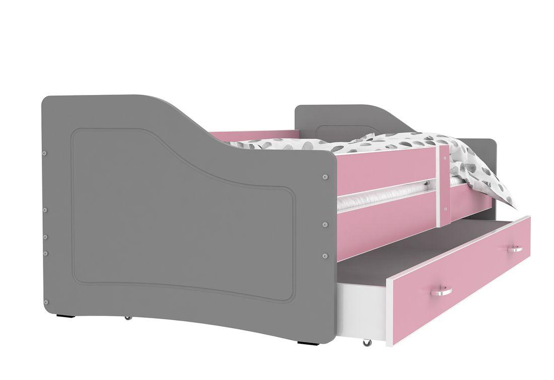 Dětská postel SWAN + matrace + rošt ZDARMA, 140x80, růžová/šedá