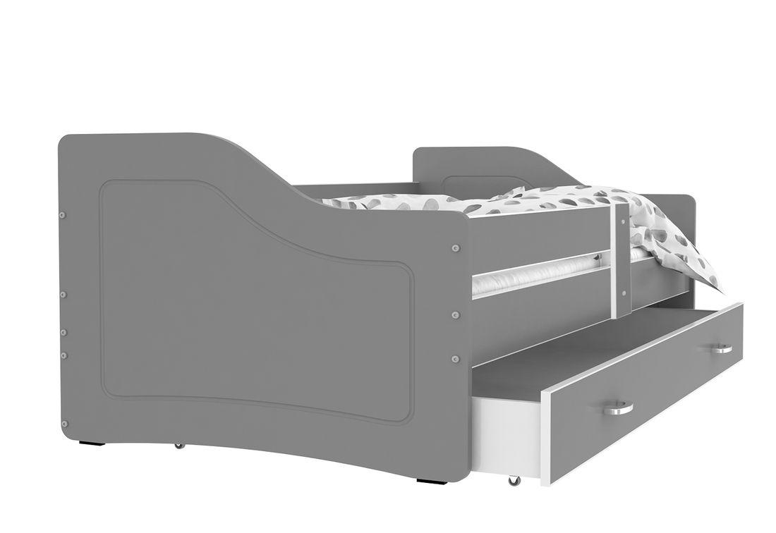 Dětská postel SWAN + matrace + rošt ZDARMA, 140x80, šedá/šedá