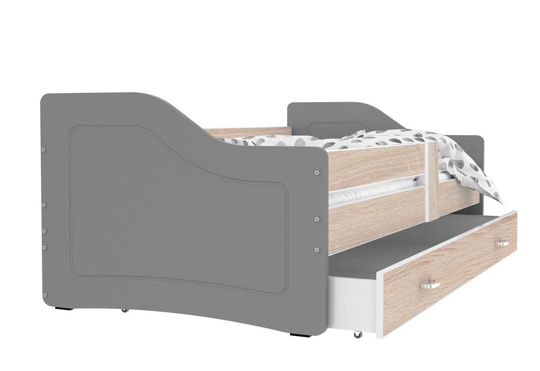 Dětská postel SWAN + matrace + rošt ZDARMA, 140x80, borovice/šedá