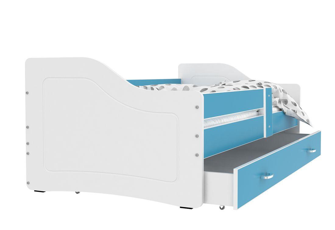Dětská postel SWAN + matrace + rošt ZDARMA, 160x80, modrá/bílá