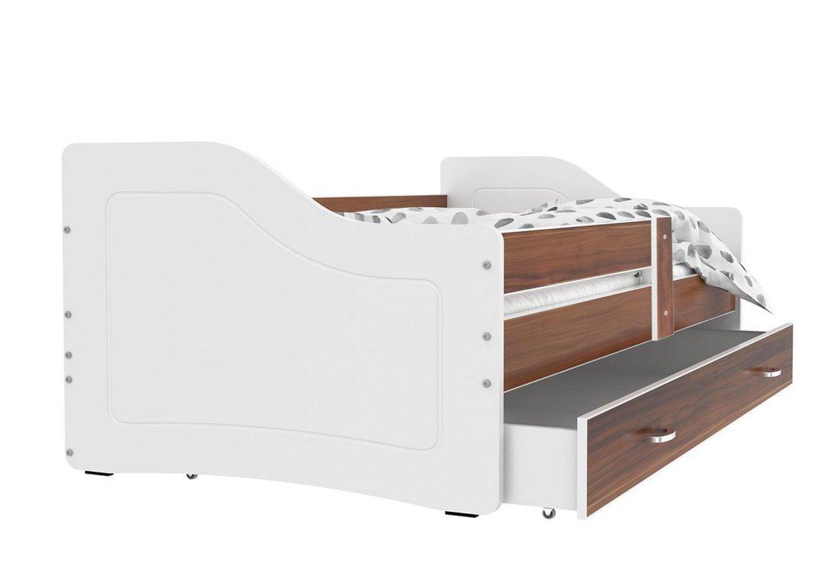 Dětská postel SWAN + matrace + rošt ZDARMA, 180x80, havana/bílá