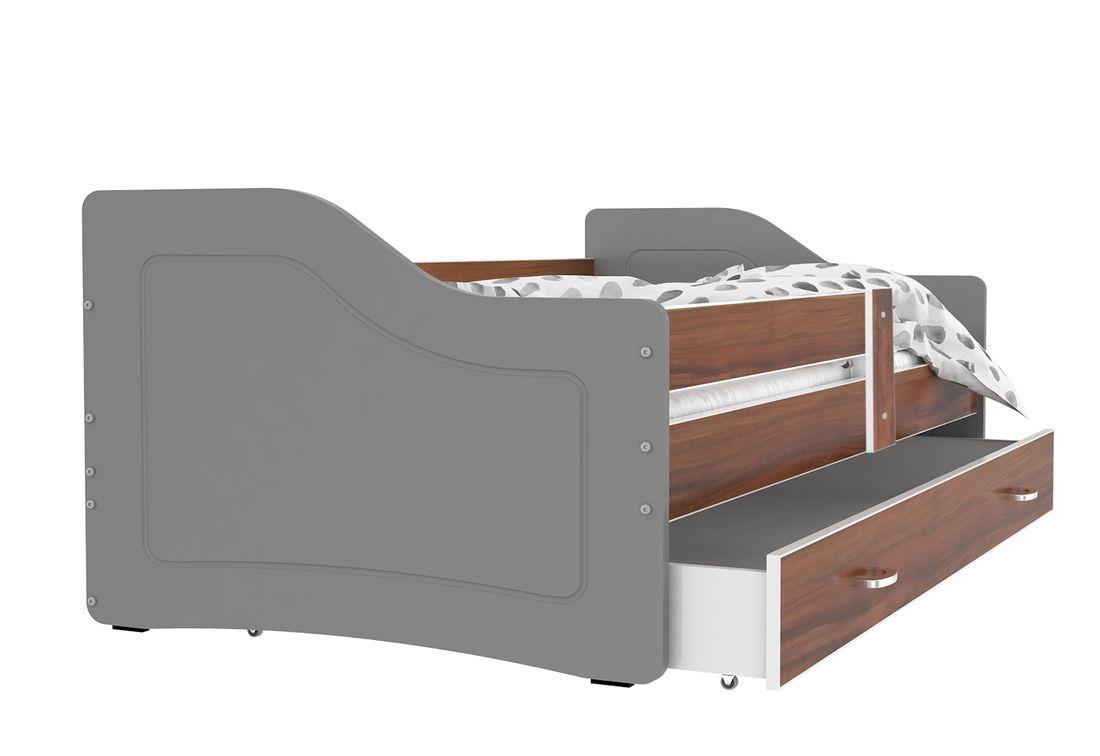Dětská postel SWAN + matrace + rošt ZDARMA, 180x80, havana/šedá