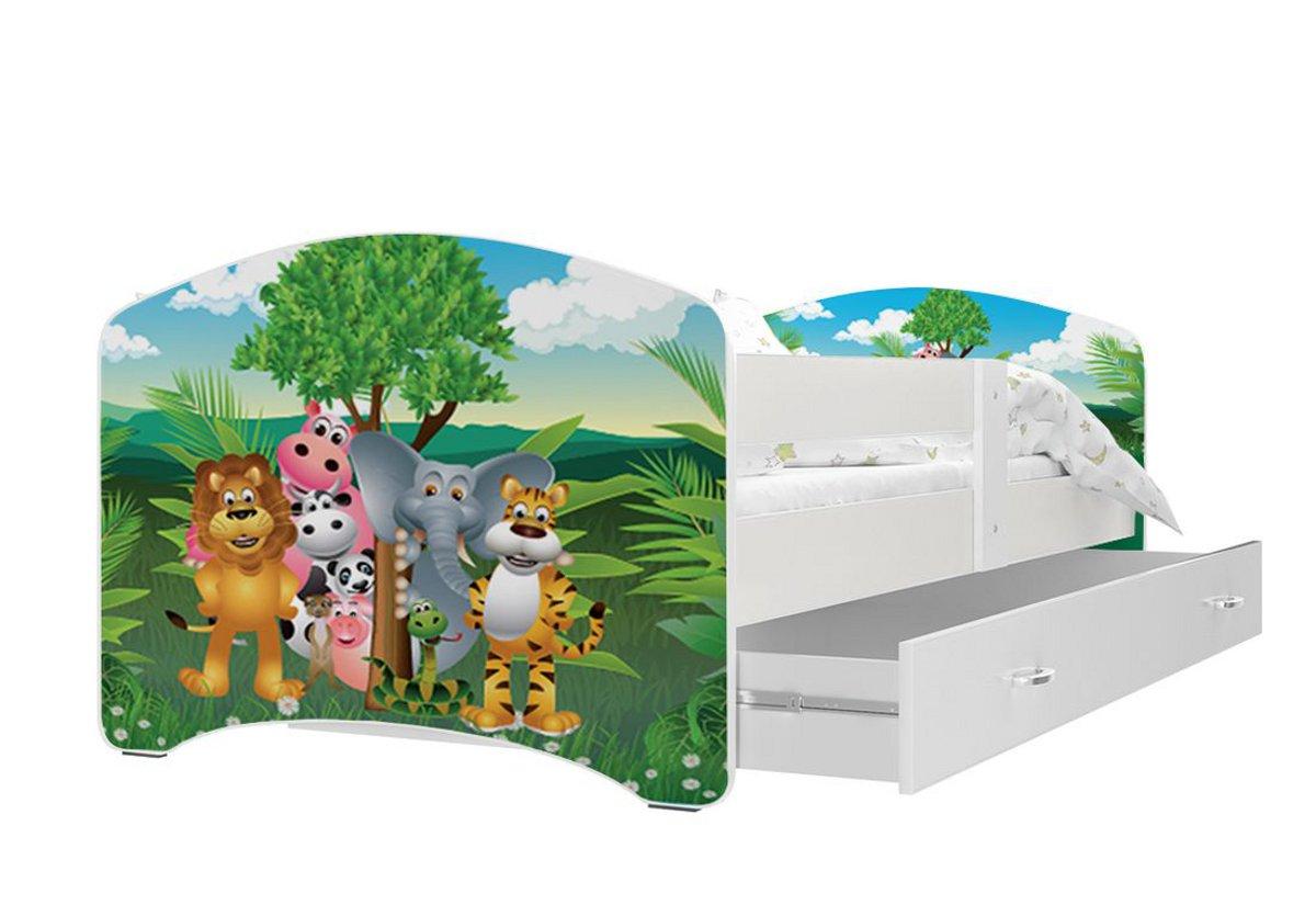 Dětská postel s potiskem LUCIE + matrace + rošt ZDARMA, 140x80, bílý/VZOR 34