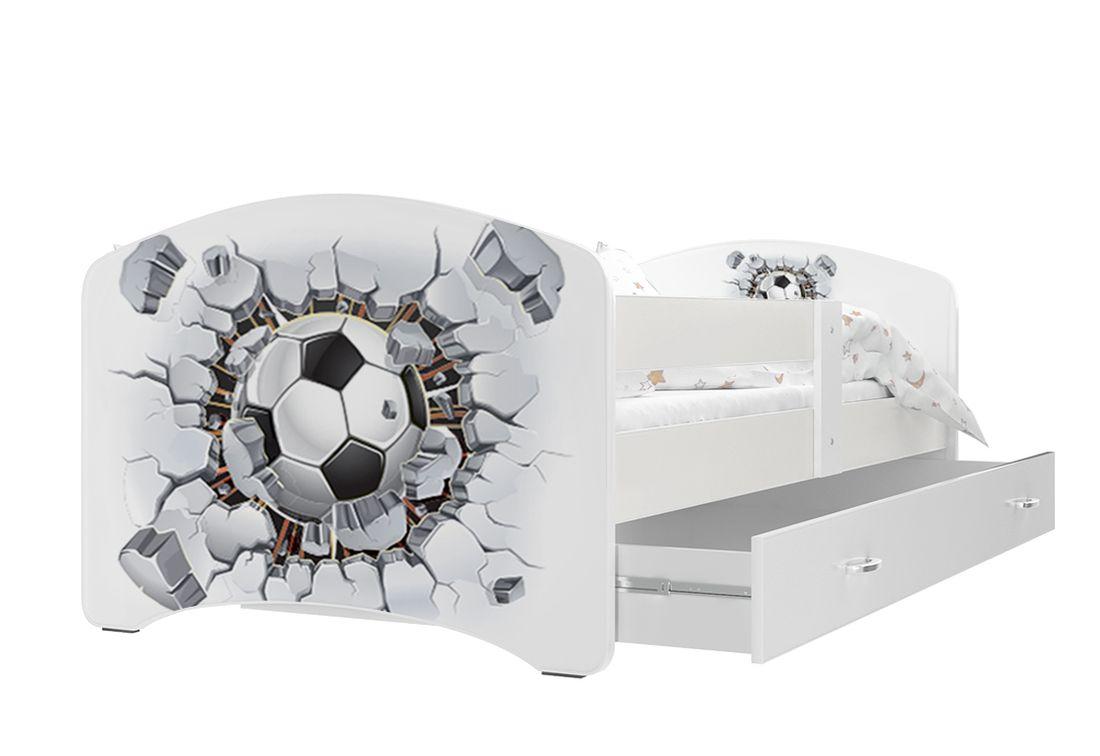 Dětská postel s potiskem LUCIE + matrace + rošt ZDARMA, 140x80, bílý/VZOR 21