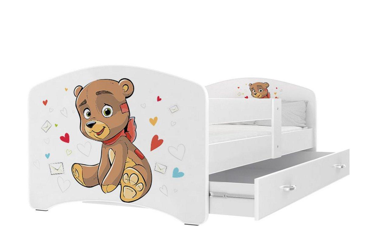 Dětská postel s potiskem LUCIE + matrace + rošt ZDARMA, 140x80, bílý/VZOR 13