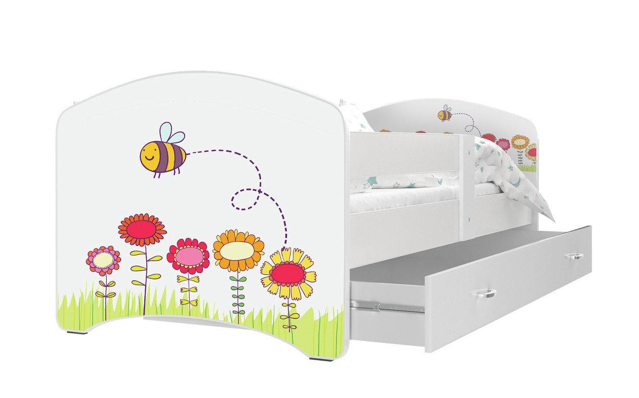 Dětská postel s potiskem LUCIE + matrace + rošt ZDARMA, 140x80, bílý/VZOR 09