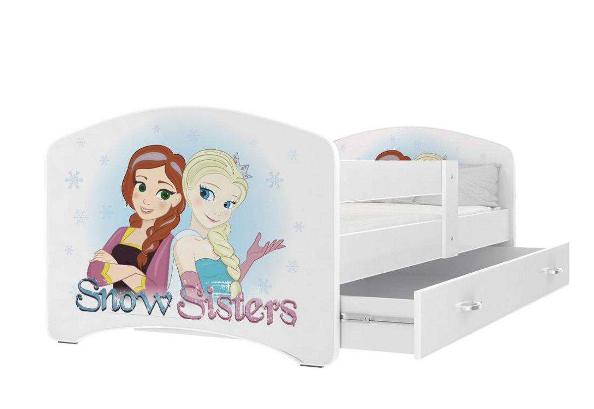 Dětská postel s potiskem LUCIE + matrace + rošt ZDARMA, 160x80, bílý/VZOR 44
