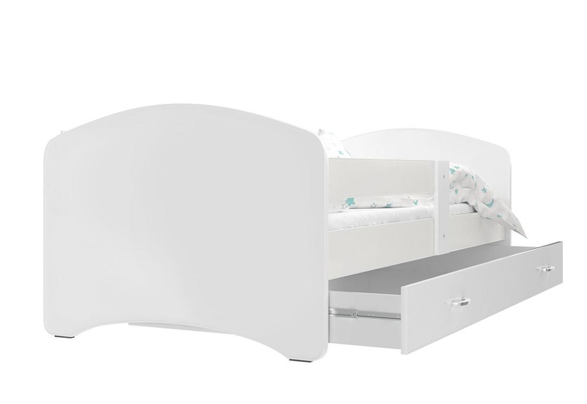 Dětská postel s potiskem LUCIE + matrace + rošt ZDARMA, 180x80, bílý bez vzoru