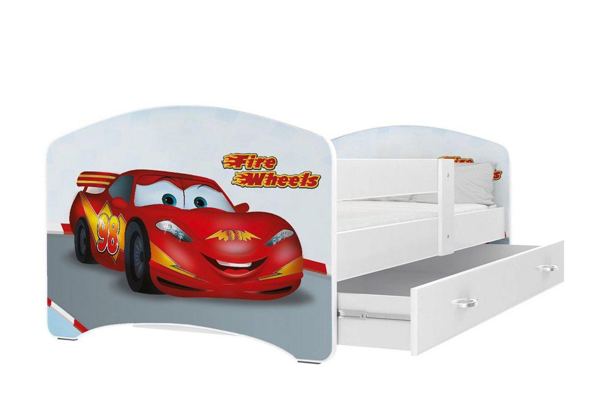 Dětská postel s potiskem LUCIE + matrace + rošt ZDARMA, 180x80, bílý/VZOR 43
