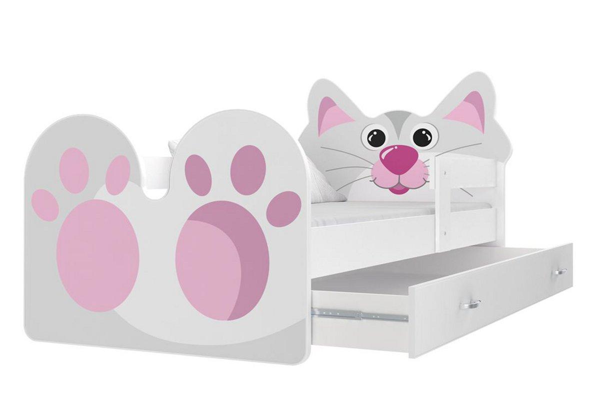 Dětská postel KOČIČKA P1 + matrace + rošt ZDARMA, 180x80, bílá/VZOR 02