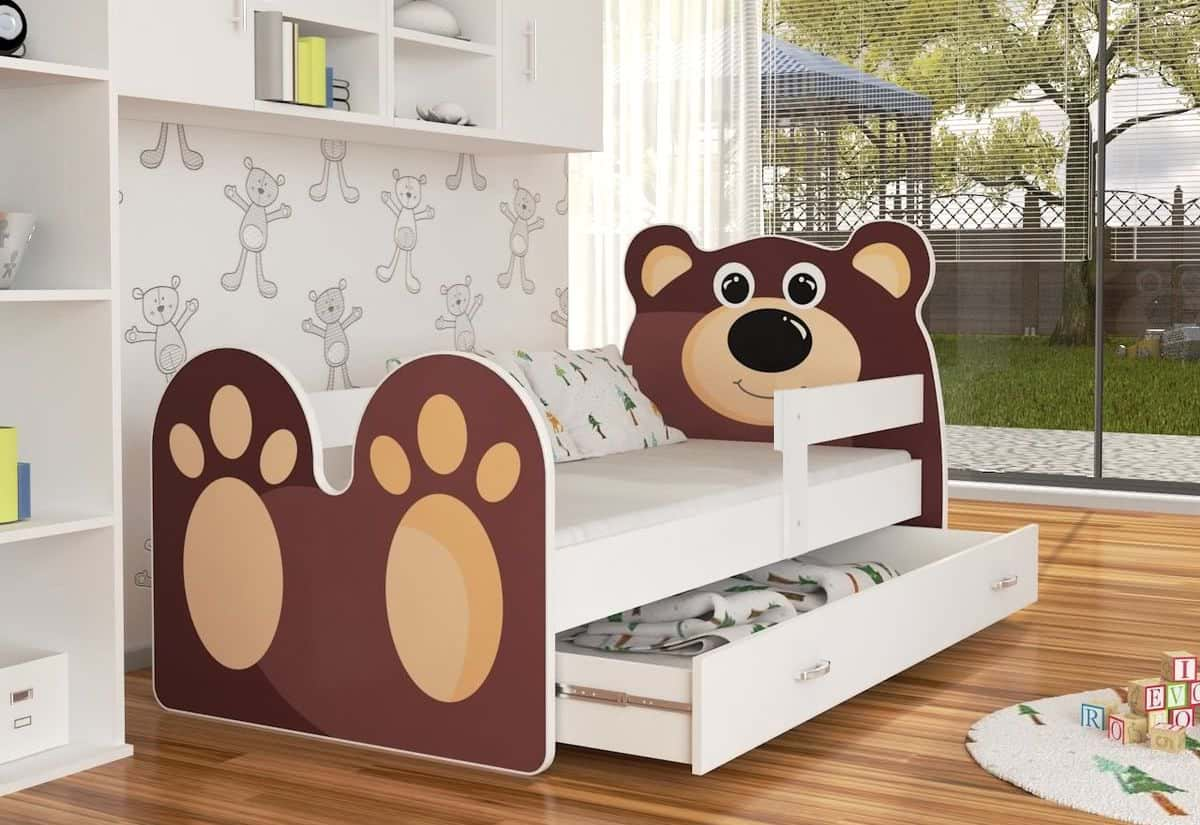 Dětská postel MEDVÍDEK P1 + matrace + rošt ZDARMA, 180x80