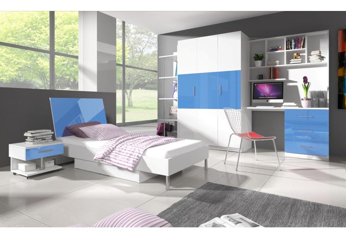 Dětský pokoj DARCY III, bílá/modrá lesk