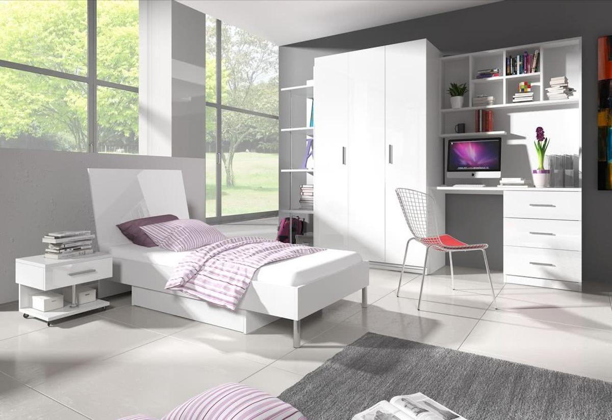 Dětská postel DARCY III, 90x200, bílá/bílá lesk