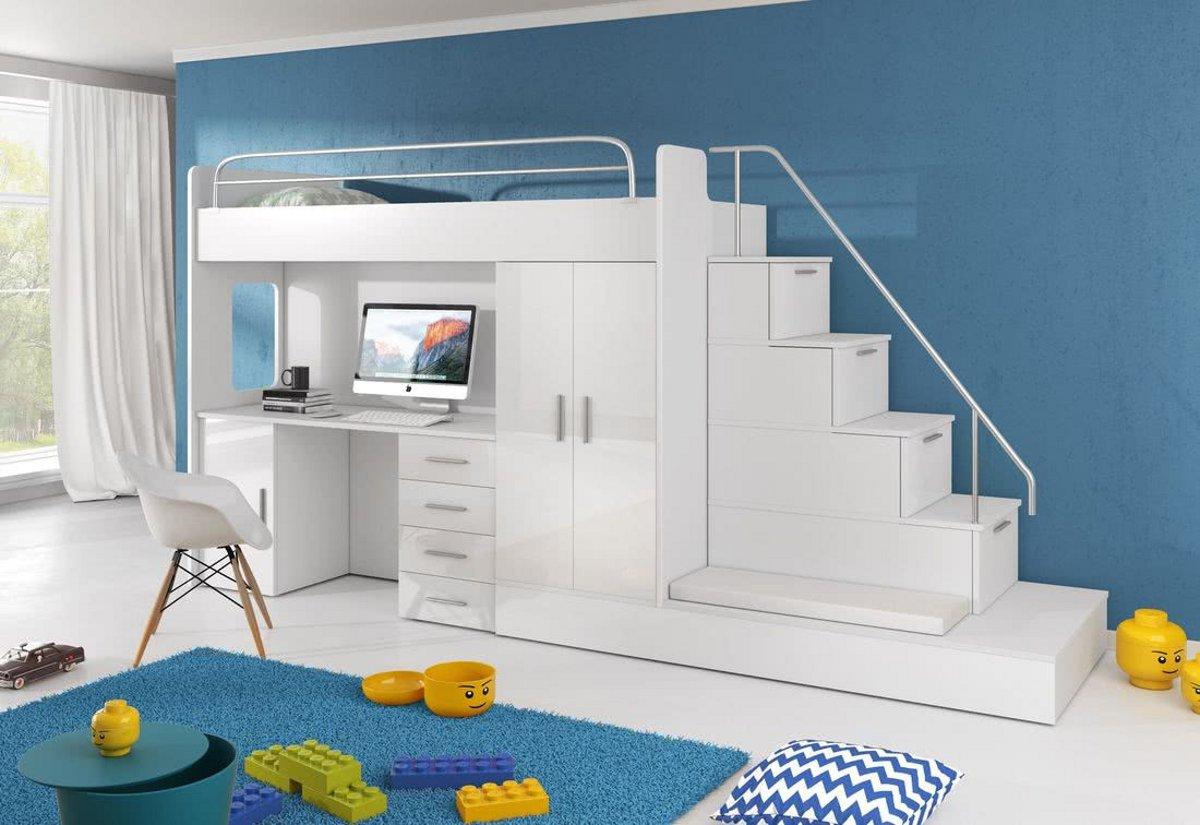 Dětská patrová postel DARCY V COLOR, 80x200, univerzální orientace, bílá/bílá lesk