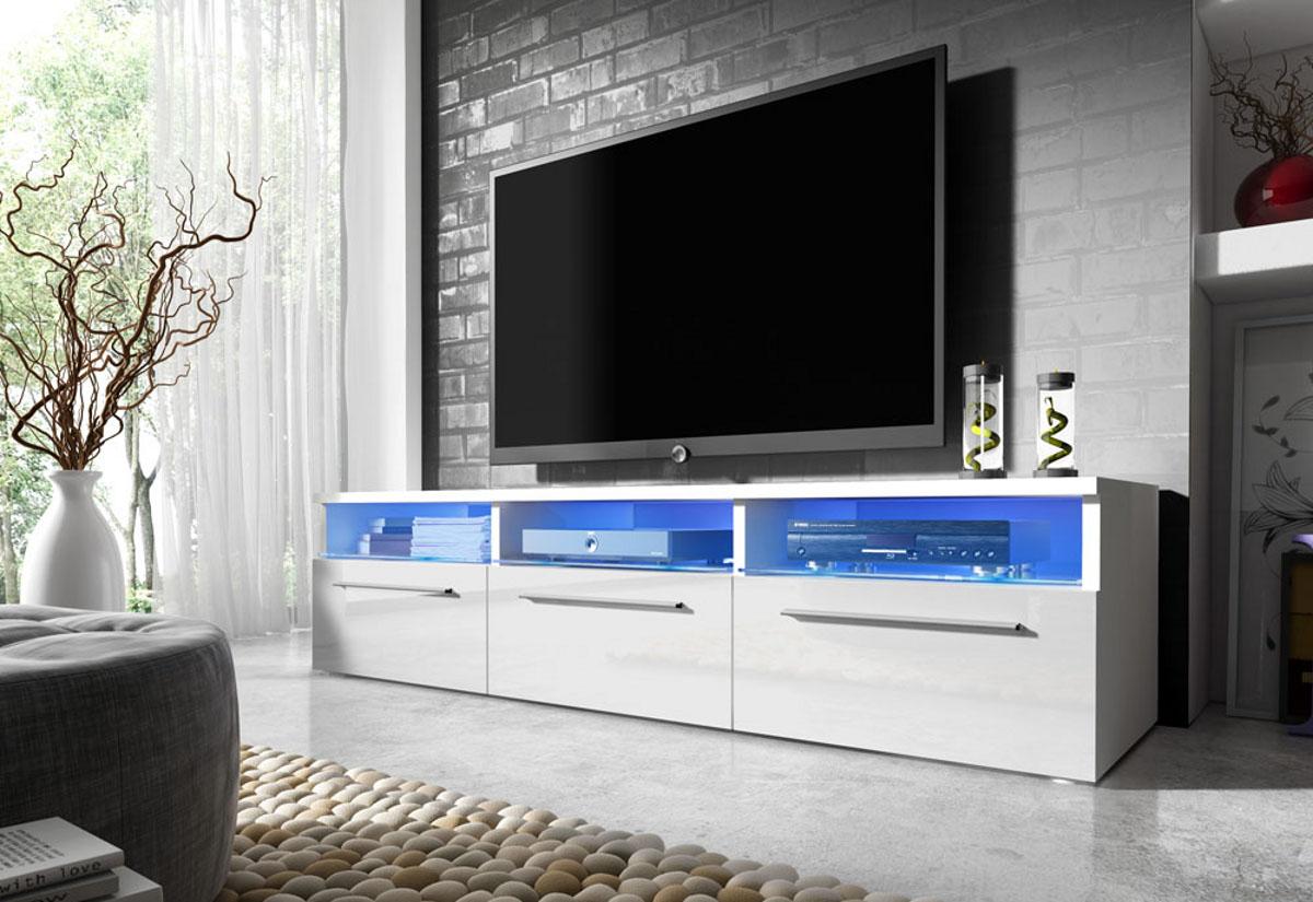TV stolek LORA RTV 2, bílá/bílá lesk