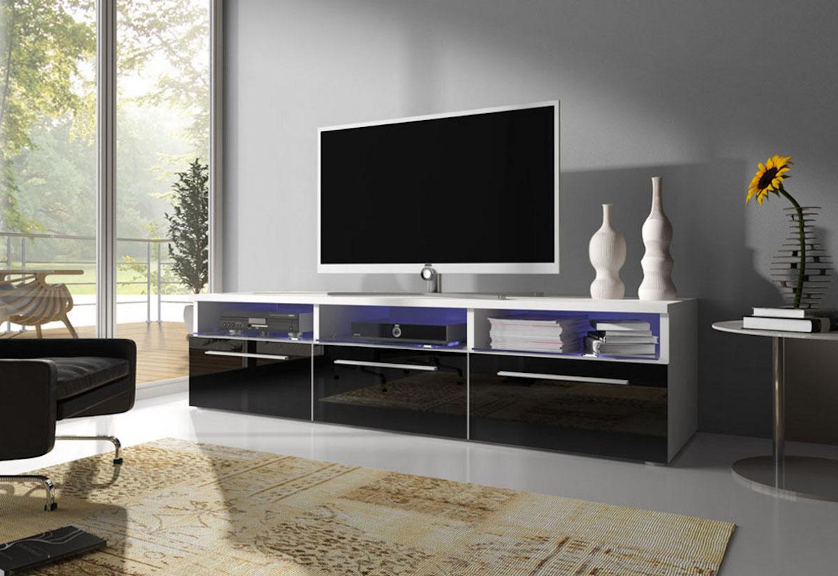 TV stolek LORA RTV 2, bílá/černá lesk