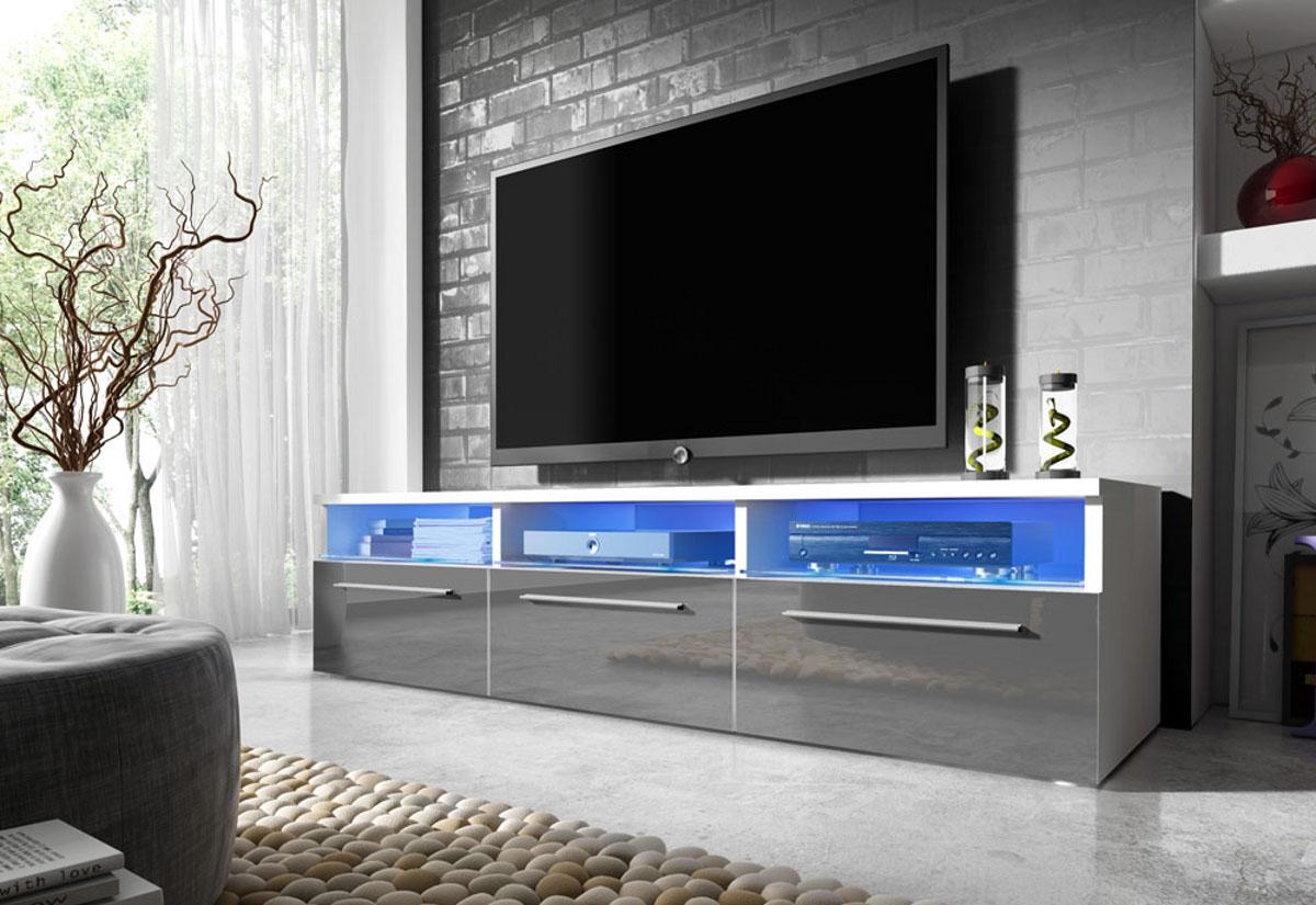 TV stolek LORA RTV 2, bílá/šedá lesk
