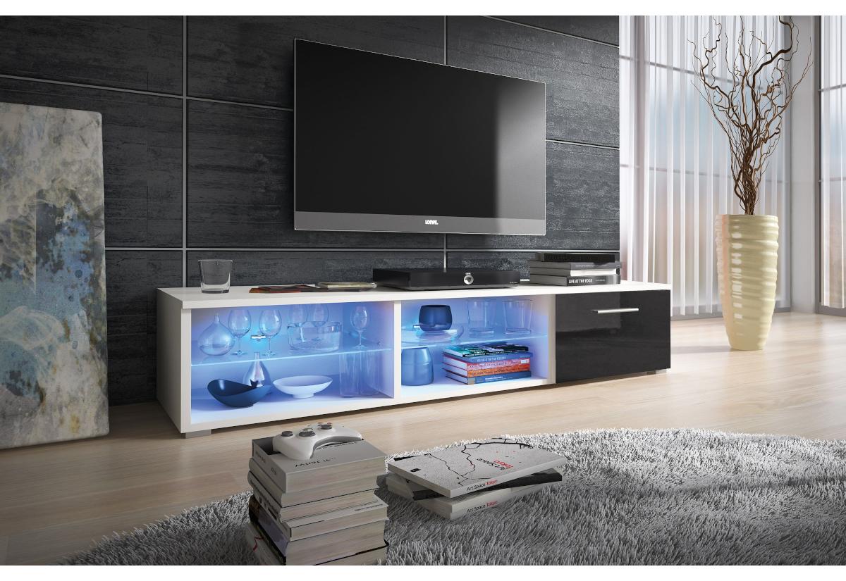TV stolek LORA RTV 5, bílá/bílá lesk