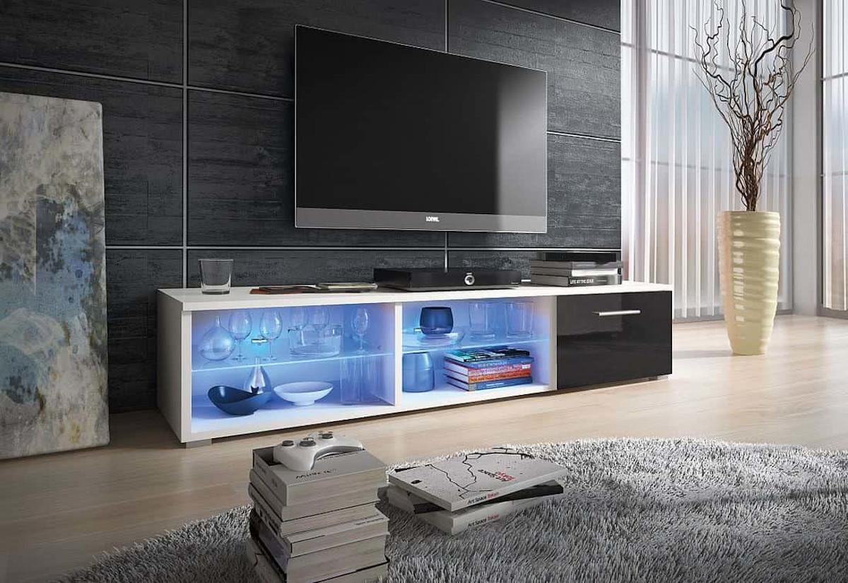TV stolek LORA RTV 5, bílá/černá lesk