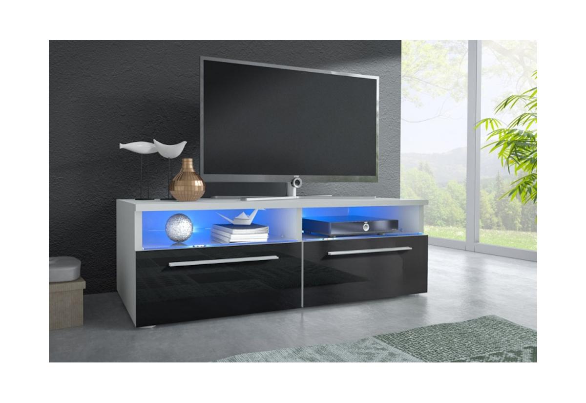 TV stolek LORA RTV 6, bílá/černá lesk