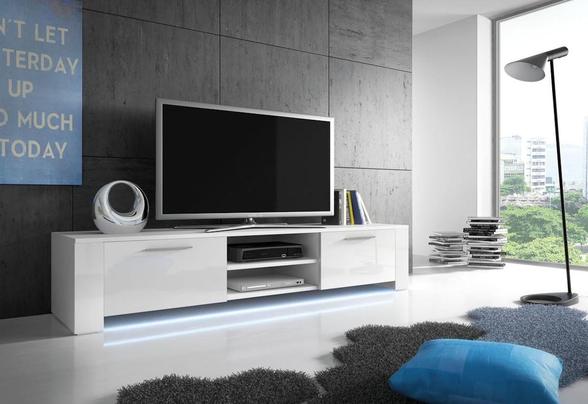 TV stolek LORA RTV 9, bílá/bílá lesk