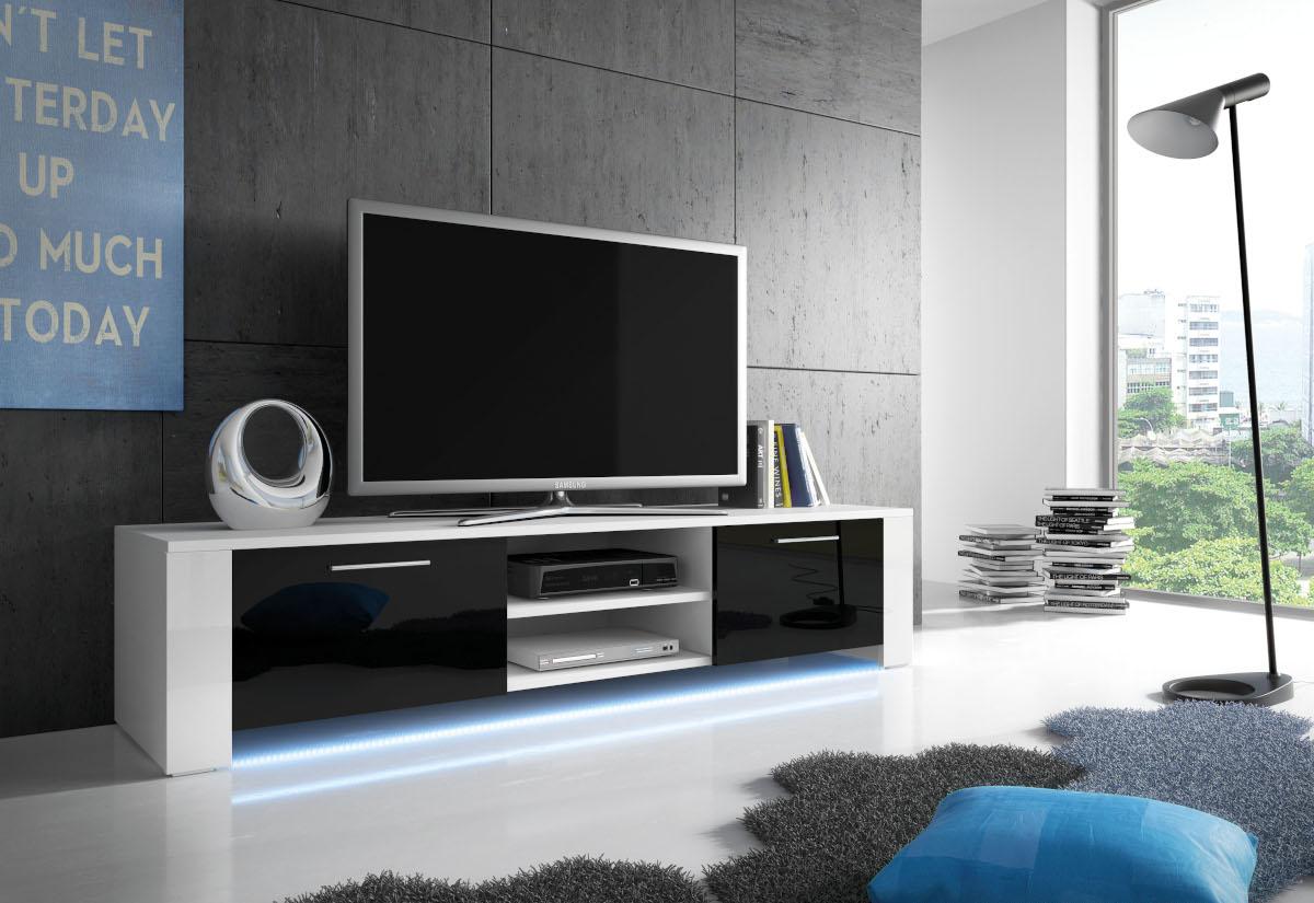 TV stolek LORA RTV 9, bílá/černá lesk