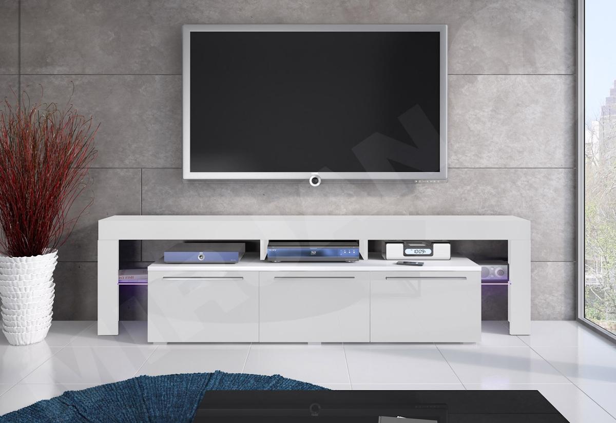 TV stolek RTV BACON 150 Plus, bílá/bílá lesk