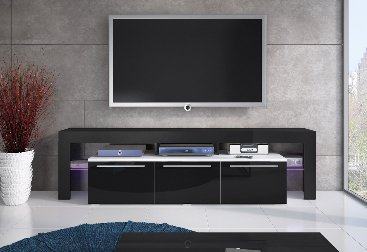 TV stolek RTV BACON 150 Plus, bílá/černá lesk