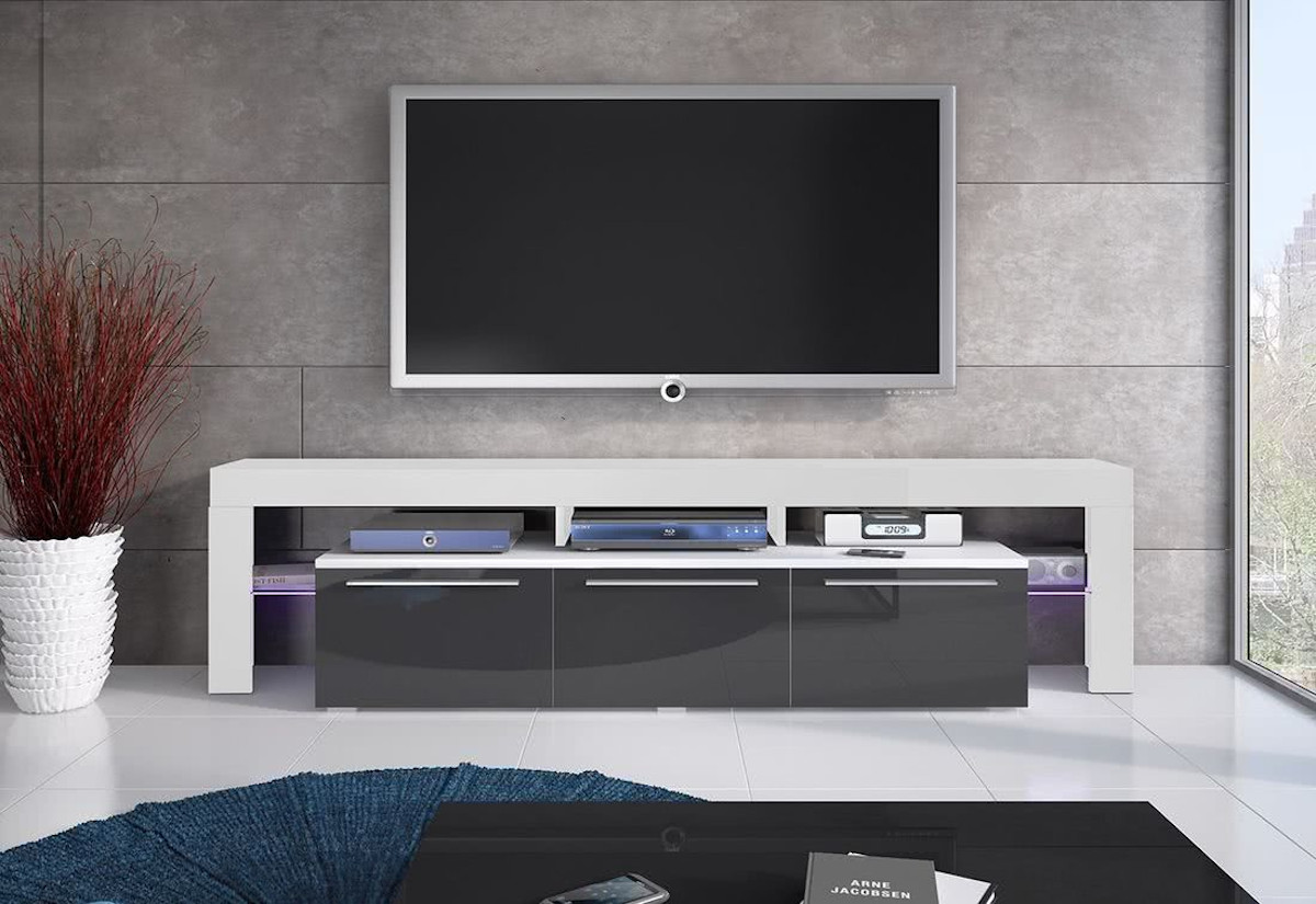 TV stolek RTV BACON 150 Plus, bílá/šedá lesk