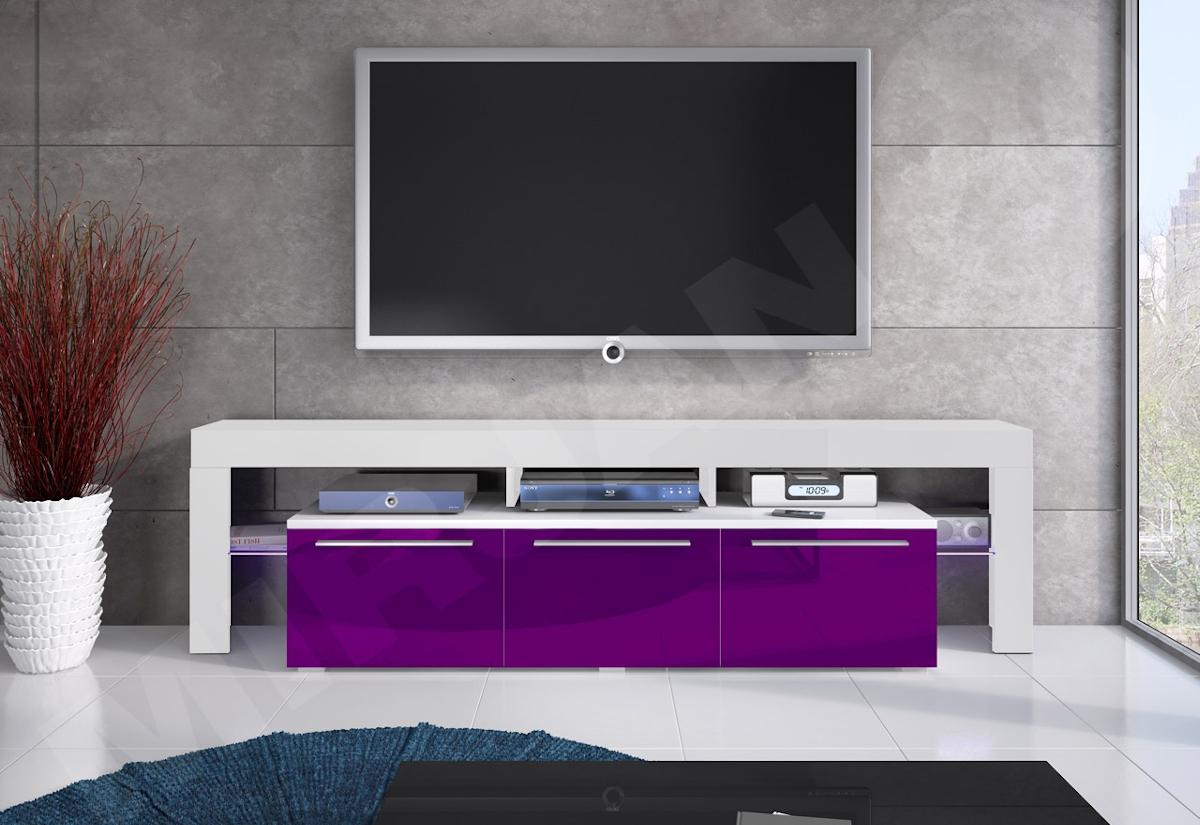 TV stolek RTV BACON 150 Plus, bílá/fialová lesk