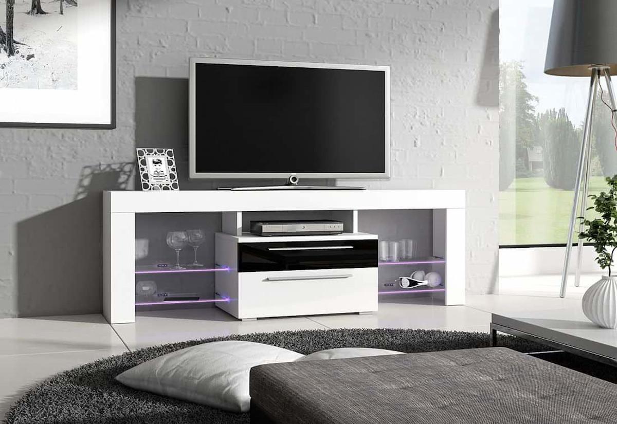 TV stolek STANLEY Plus, bílá/černá lesk