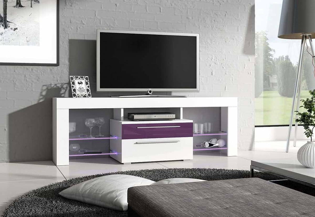TV stolek STANLEY Plus, bílá/fialová lesk