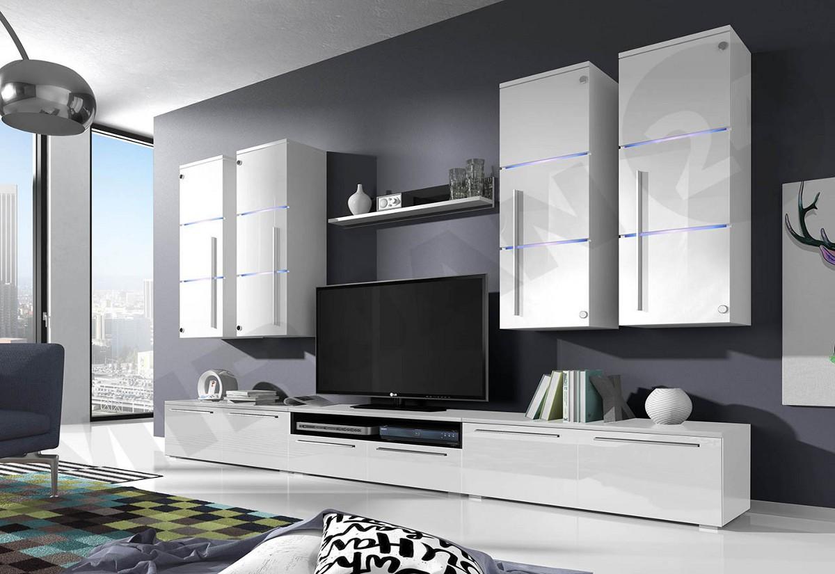 Obývací stěna LOBO, horní skříňky: bílé, spodní skříňky: bílé