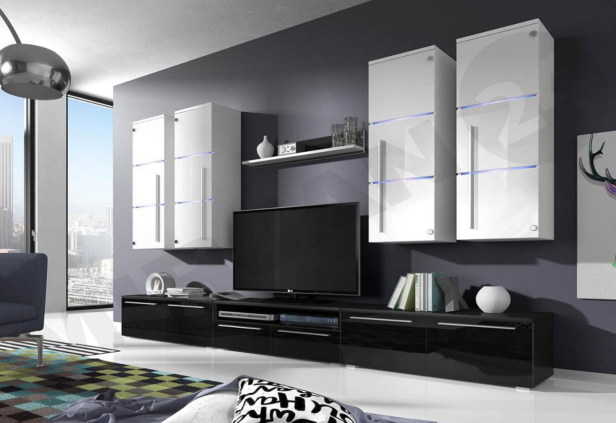 Obývací stěna LOBO, horní skříňky: bílé, spodní skříňky černé