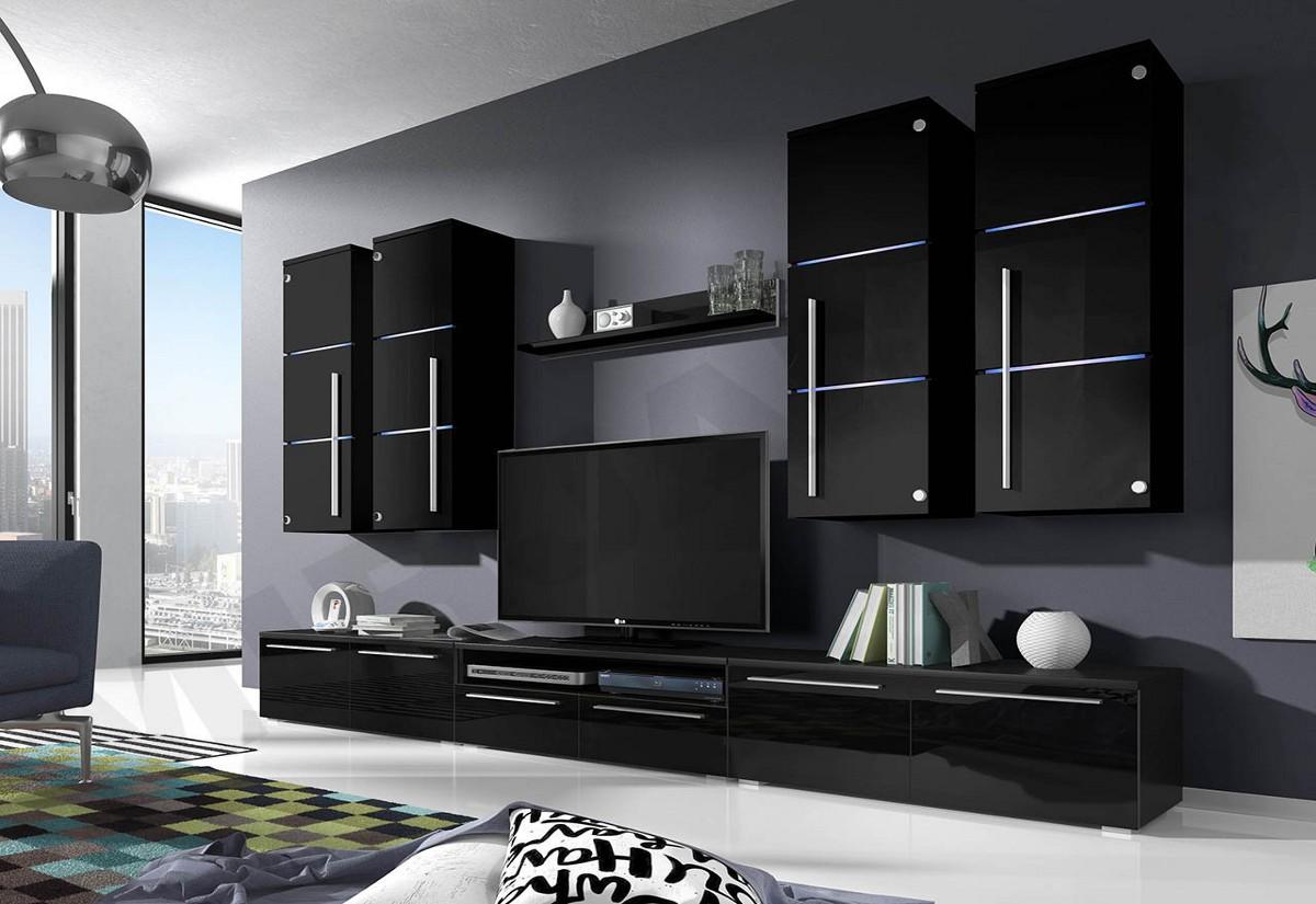 Obývací stěna LOBO, horní skříňky: černé, spodní skříňky: černé