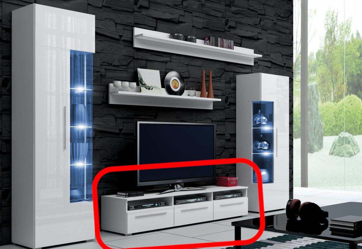 TV stolek LUGANO, bílá/bílá lesk - 150/35/45cm