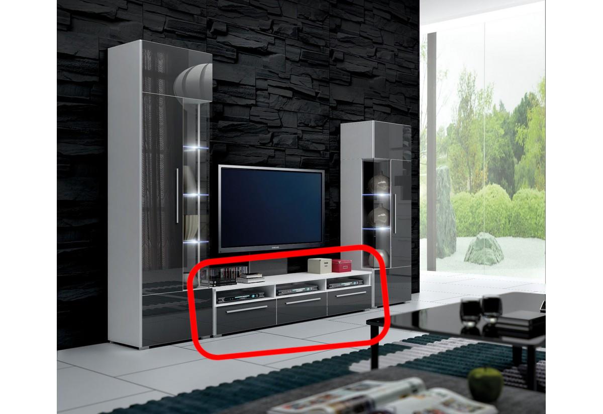 TV stolek LUGANO, bílá/šedá lesk - 150/35/45cm