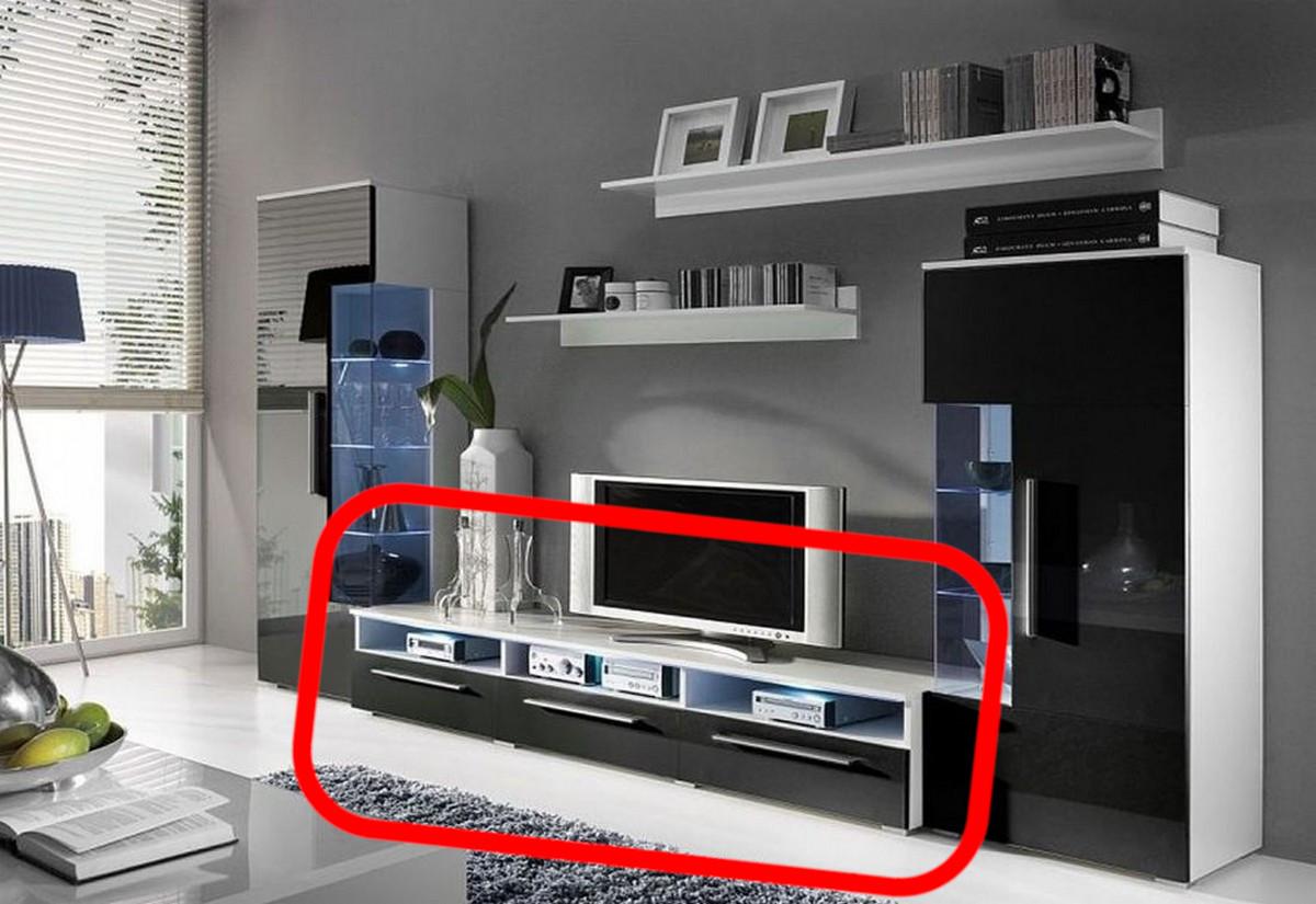 TV stolek LUGANO, bílá/černá lesk - 150/35/45cm