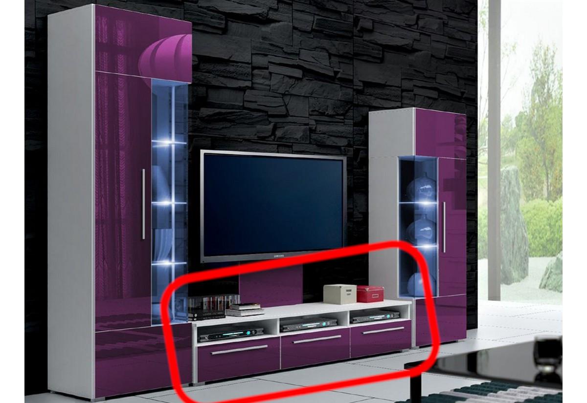 TV stolek LUGANO, bílá/fialová lesk - 150/35/45cm
