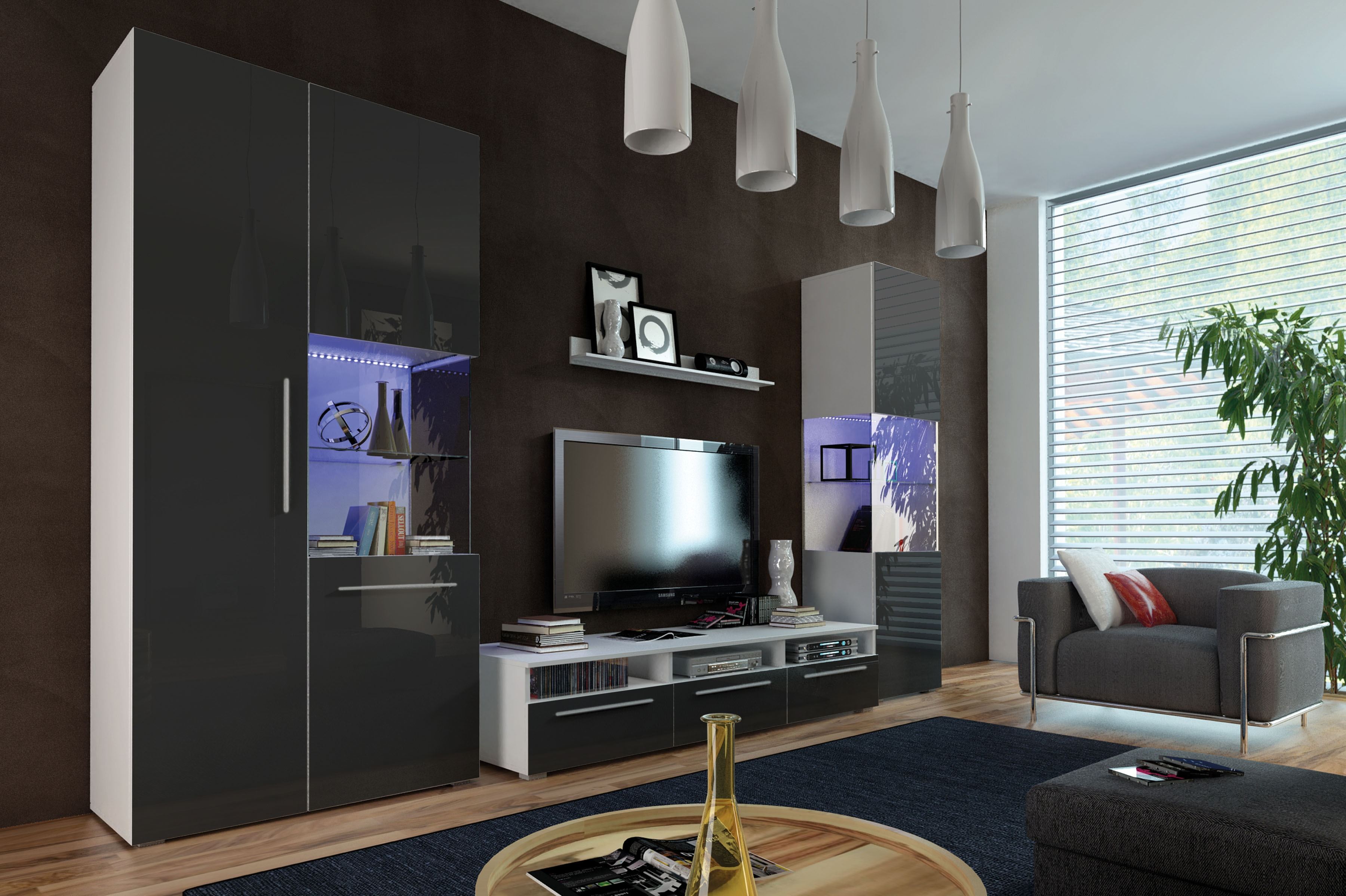Obývací stěna GALANTIC I, bílá/černá lesk