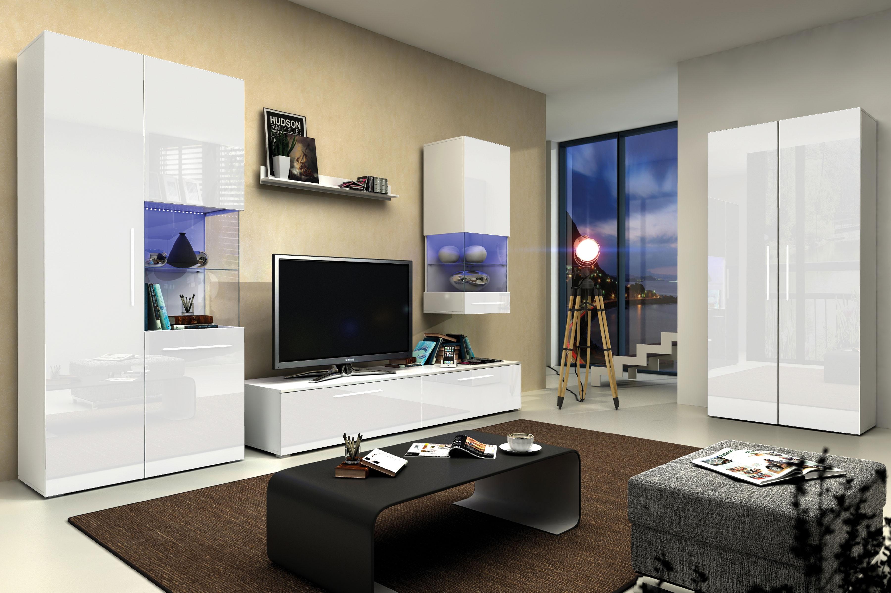 Obývací stěna GALANTIC IV, bílá/šedá lesk