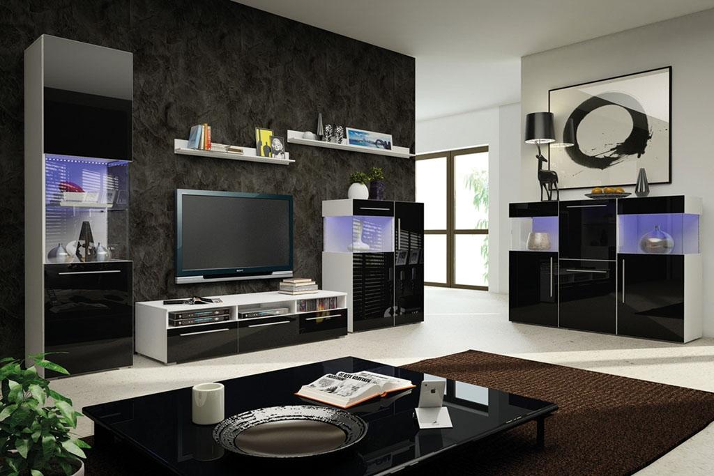 Obývací stěna GALANTIC V, bílá/šedá lesk
