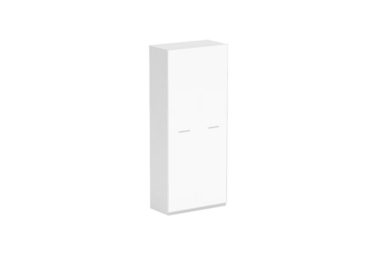 Skříň GALANTIC 2D, bílá/bílá lesk