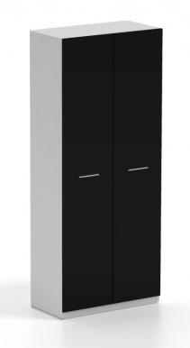 Skříň GALANTIC 2D, bílá/černá lesk