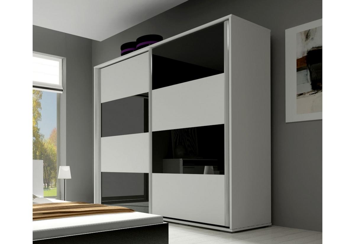 Posuvná šatní skříň KAYLA 200, bílá/černá lesk