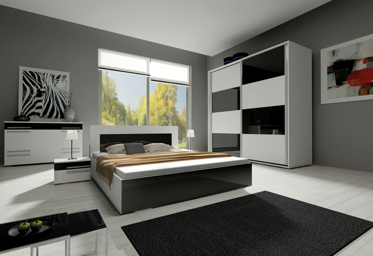 Ložnicová sestava KAYLA II (2x noční stolek, komoda, skříň 200, postel 180x200), bílá/šedá lesk