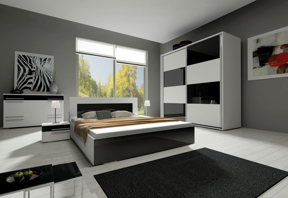 Ložnicová sestava KAYLA II (2x noční stolek, komoda, skříň 200, postel 180x200), bílá/černá lesk