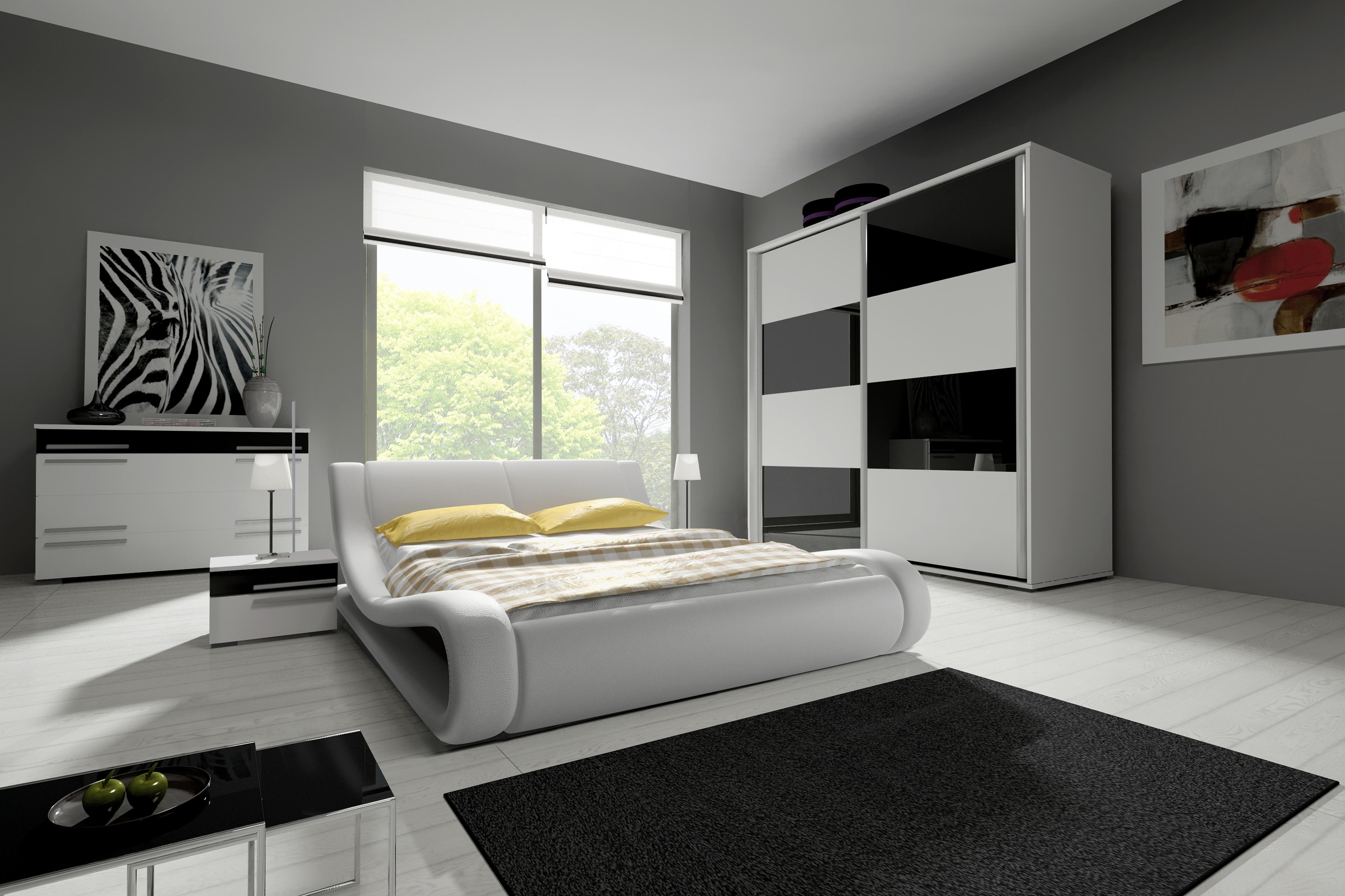 Ložnicová sestava KAYLA III (2x noční stolek, komoda, skříň 200, postel TRINITY 180x200), bílá/černá lesk