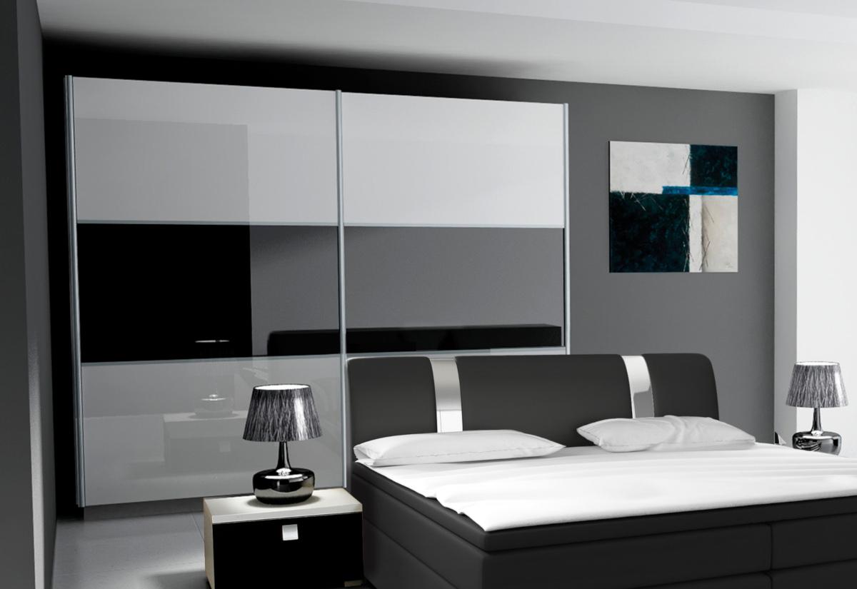 Posuvná šatní skříň AGARIO 200, bílá/černá lesk
